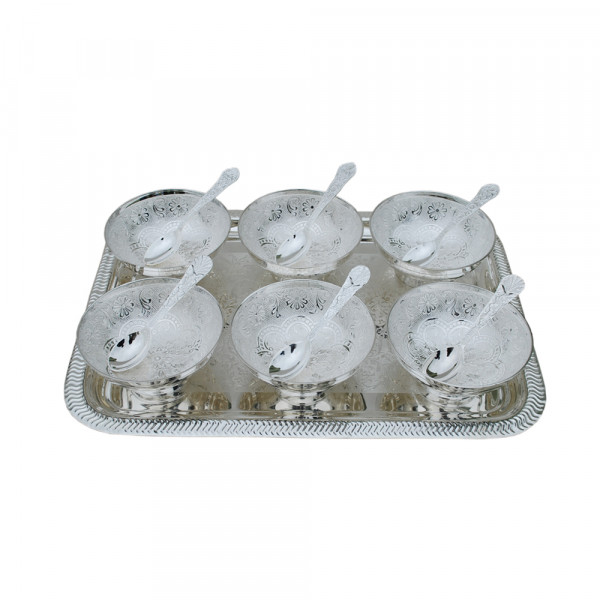 Rectangle Tray and 6  bowl set with spoon, Silver plated