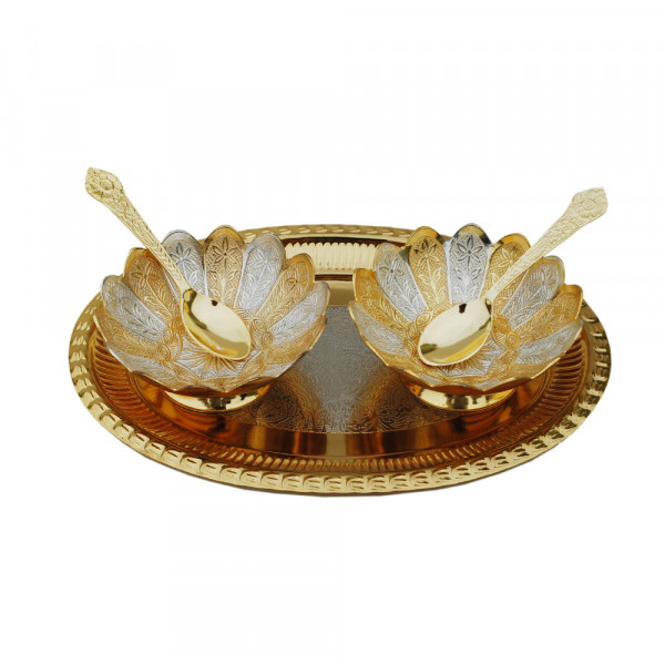 Oval Tray and 2 bowl set with spoon, dual tone finish