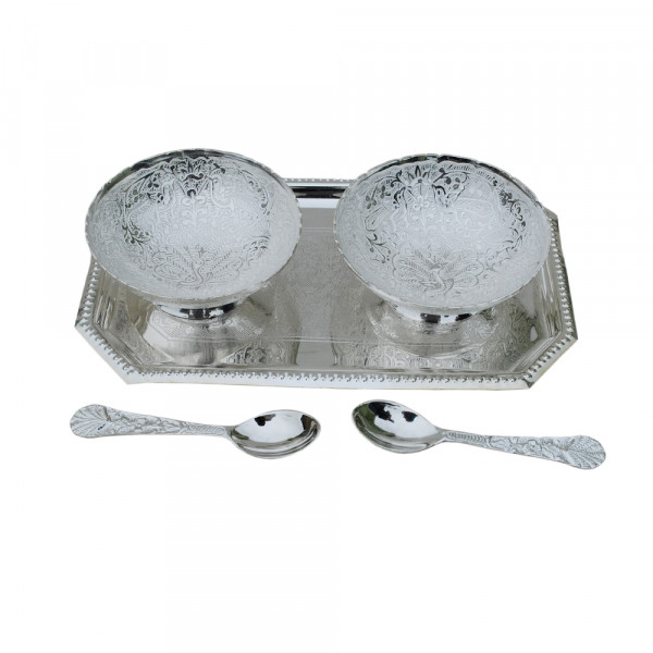 Rectangle  Tray and 2  bowl in Silver plated