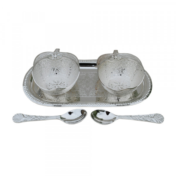 Capsule design tray and small apple bowl set with spoon silver plated