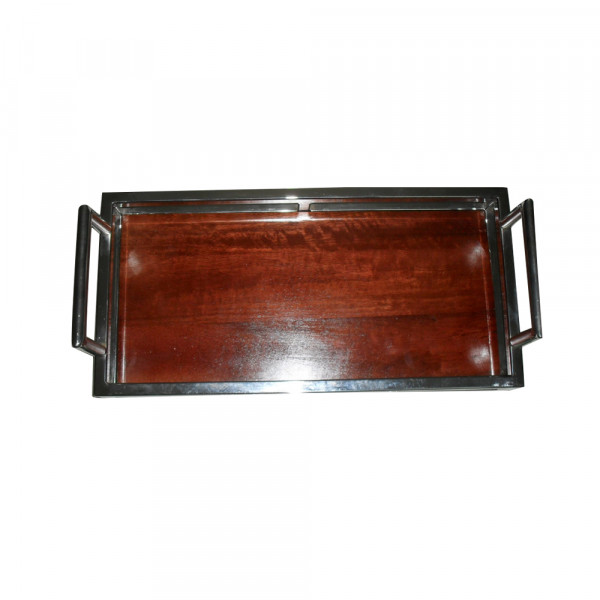 Steel and wood serving tray.