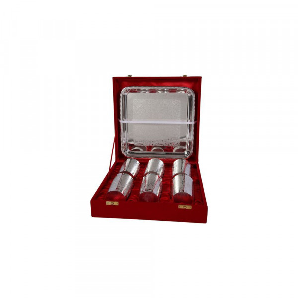 Sat Brass Novelties Silver 6 glass and tray