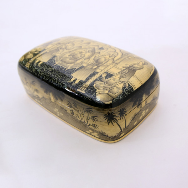 Hands of Gold Paper Mache Meter box - Mughal Darbar