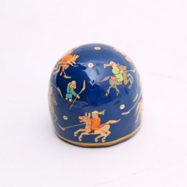 Hands of Gold Paper Mache Paper Weight - Round-Polo design
