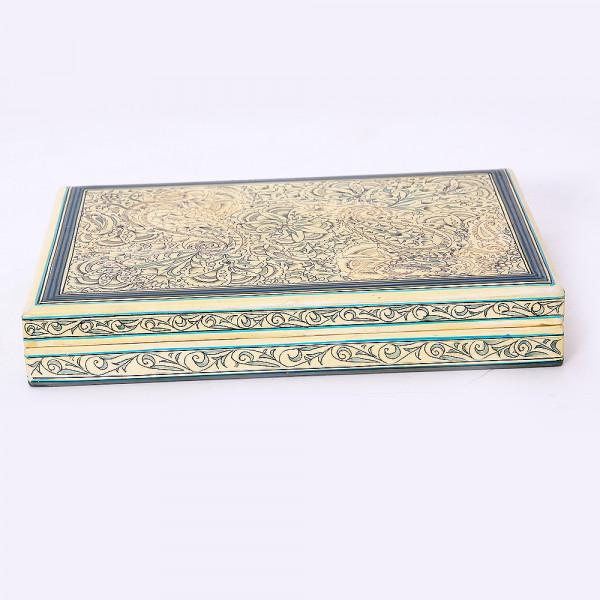Hands of Gold Paper Mache Flat box - Paisley design