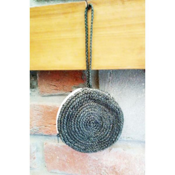 Circular Black Jute Bag
